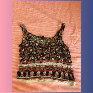 Tribal Lace Bottom Crop Top